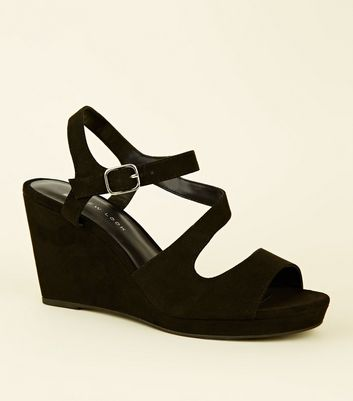 Wide Fit Black Suedette Strappy Wedges