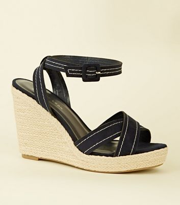 Wide Fit Navy Suedette Contrast Stitch Wedges