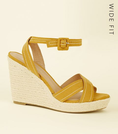 4017b588d71 ... Wide Fit Mustard Suedette Contrast Stitch Wedges ...