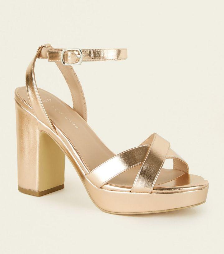 d50b1951344 Wide Fit Rose Gold Platform Sandals