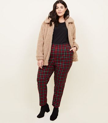 Curves Red Tartan Check Trousers