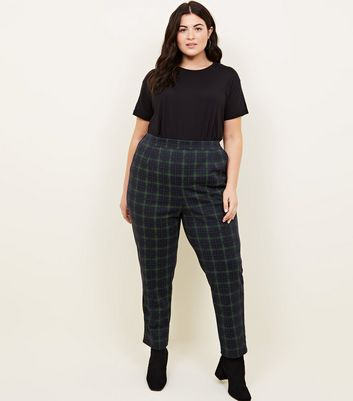 Curves Navy Check Trousers