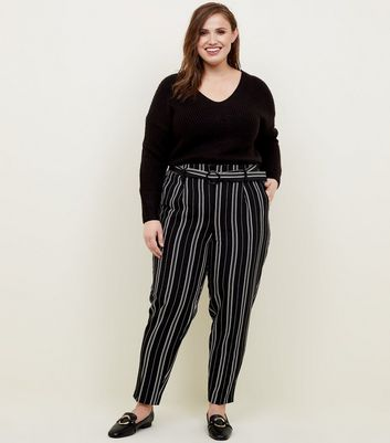 Curves Black Stripe Tapered Trousers