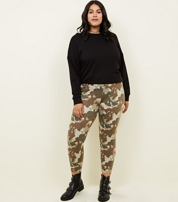 Curves Khaki Camo Print Leggings
