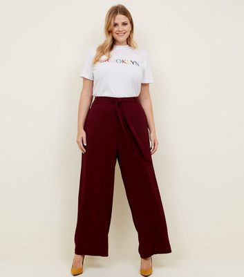 Curves Burgundy Wide Leg Trousers