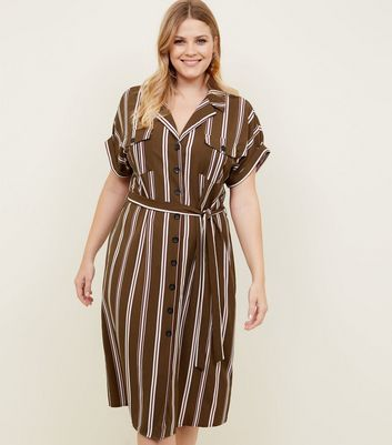 Curves Green Stripe Midi Shirt Dress