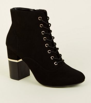 Black Lace-Up Gold Trim Block Heel Boots