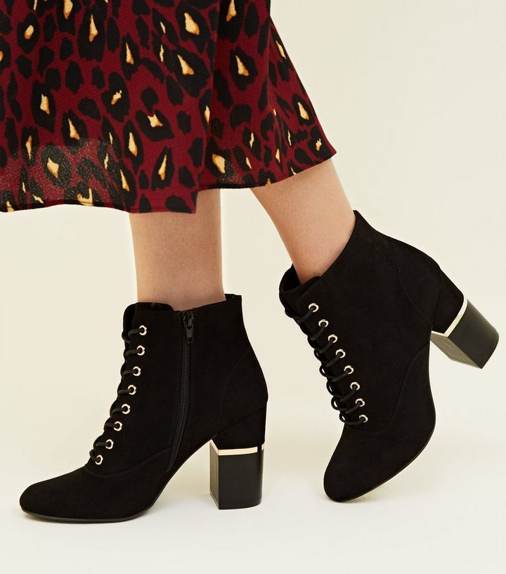 6084dfcd84fcc ... Black Lace Up Gold Trim Block Heel Boots. ×. ×. ×. Shop the look