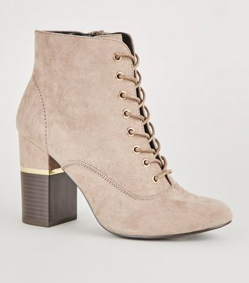 Light Brown Lace-Up Gold Trim Block Heel Boots
