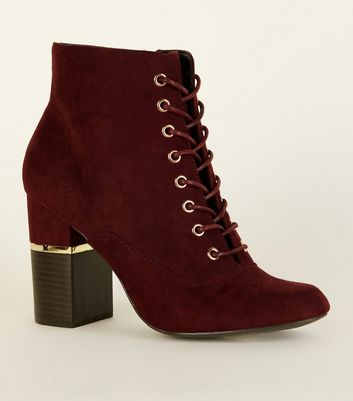 Dark Red Lace-Up Gold Trim Block Heel Boots