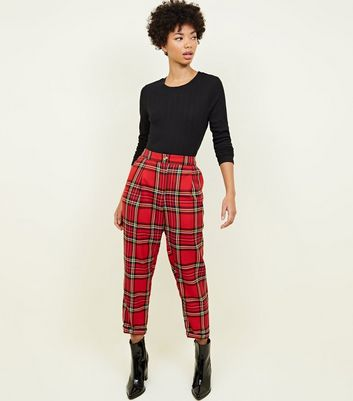 Red Tartan Check Tapered Trousers