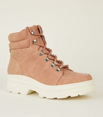 Pink Chunky Lace Up Hiker Boots
