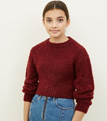 Girls Burgundy Fluffy Knit Jumper
