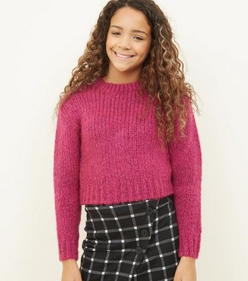 Girls - Pull rose vif en maille douce
