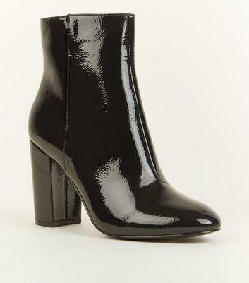 new look bottines noir vernis