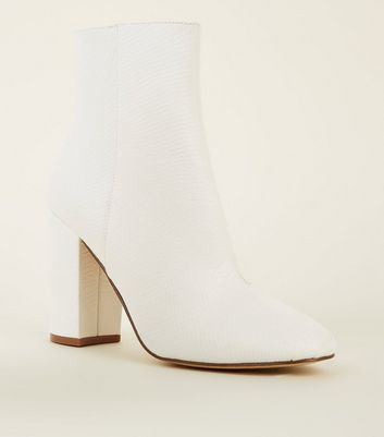 White Faux Snake Block Heel Ankle Boots
