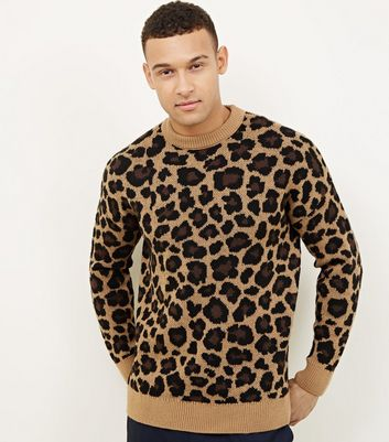 Brown Leopard Patterned Knit Jumper