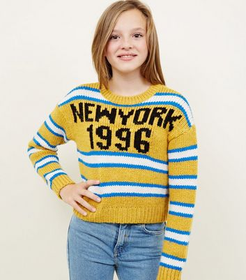 Girls Mustard New York Stripe Boxy Jumper