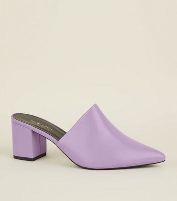 Lilac Pointed Toe Block Heel Mules