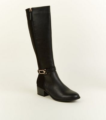Black Comfort Ankle Strap Knee High Boots