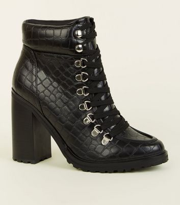 Black Faux Croc Lace Up Heeled Boots