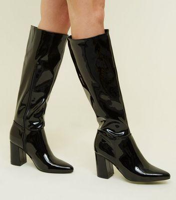 Black Patent Block Heel Knee High Boots