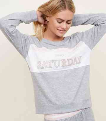 Grey Saturday Slogan Colour Block Sweatshirt