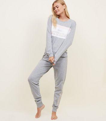 Grey Saturday Slogan Colour Block Sweatshirt New Look