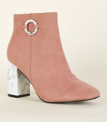 Wide Fit Pink Suedette Marble Print Heel Boots
