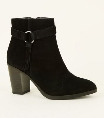 Wide Fit Black Suede Tassel Ring Side Heeled Boots