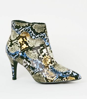 Wide Fit Blue Faux Snake Stiletto Shoe Boots