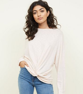 Pale Pink Shimmer Twist Front Fine Knit Top