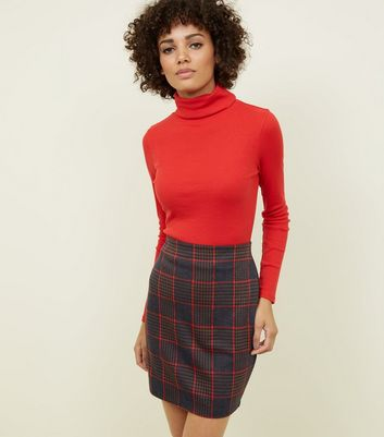 Blue Houndstooth Grid Check Tube Skirt