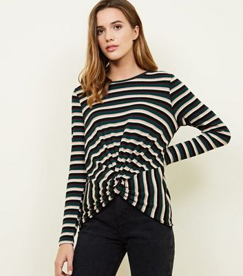 Green Stripe Metallic Ribbed Twist Front Top