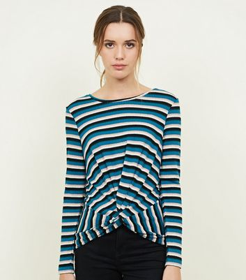 Blue Fine Knit Stripe Twist Front Top