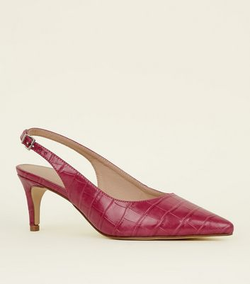 Bright Pink Faux Croc Kitten Heel Slingbacks