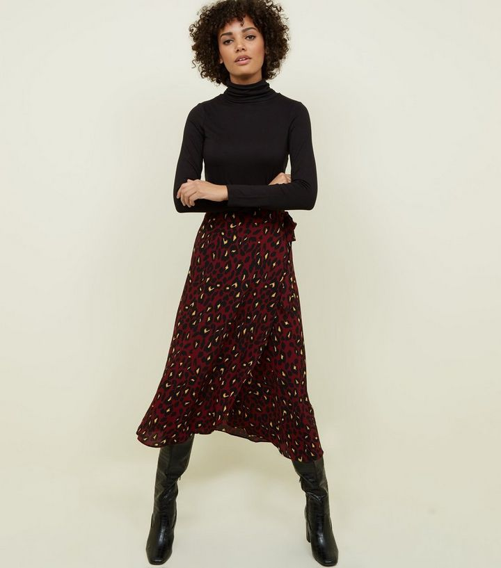 1dab6be35d Burgundy Leopard Print Mid Wrap Skirt | New Look