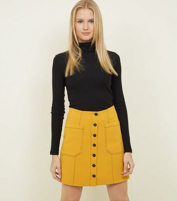 Yellow Contrast Stitch Button Front Mini Skirt