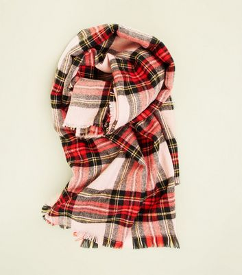 Pink and Red Tartan Check Scarf