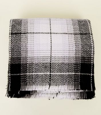 Lilac and Monochrome Woven Check Scarf