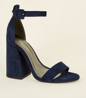 Navy Flared Block Heel Shoe