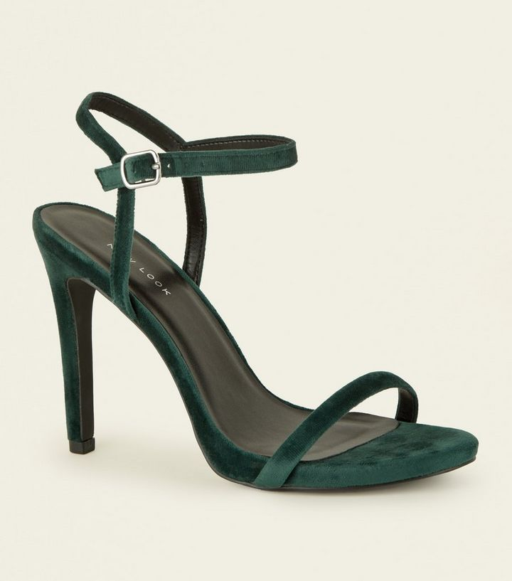 30db35ef320 Dark Green Velvet Stiletto Heel Sandals Add to Saved Items Remove from  Saved Items