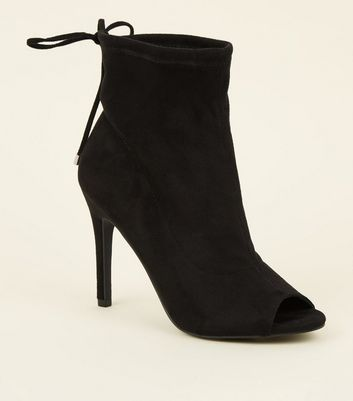 Black Suedette Peep Toe Stiletto Sock Boots