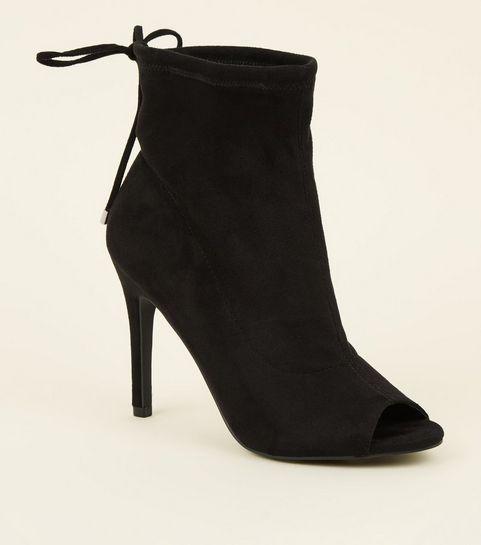 8947a7933599f ... Black Suedette Peep Toe Stiletto Sock Boots ...