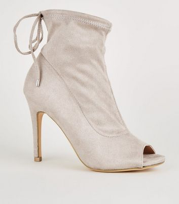 Grey Suedette Peep Toe Stiletto Sock Boots