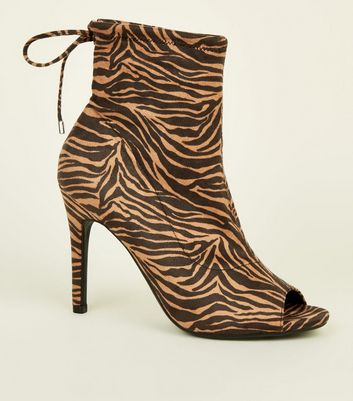 Brown Tiger Print Suedette Peep Toe Stiletto Sock Boots