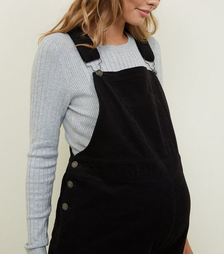ff8f5a541391b Maternity Black Corduroy Dungarees | New Look