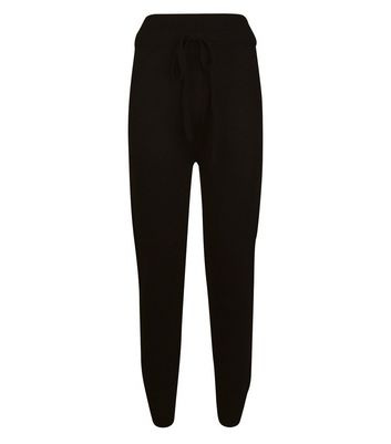 QED Black Woven Knit Joggers New Look