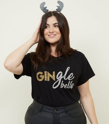 Curves Black Gingle Bells Christmas T-Shirt