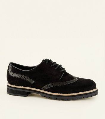 Black Matt Suedette And Leather Look Lace Up Shoes by New Look